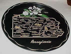 Black metal souvenir Pennsylvania State plate tray