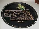 Black metal souvenir Nebraska state tray plate