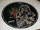 Black metal souvenir Maine state tray plate