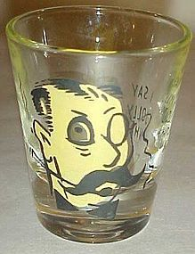 Vintage Englishman roving eye shot glass Jolly what?