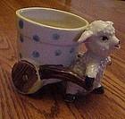 Vintage lamb or sheep pulling flower pot cart