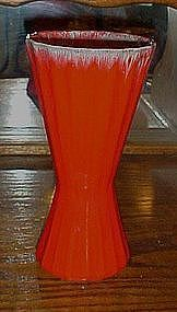 Vintage tall orange drip flower vase