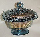 Indiana blue carnival open lace edge candy with lid