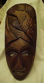 Vintage hand carved wood mask from Haiti w/ fish