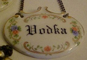 Vintage floral porcelain liquor necklace tags ITALY