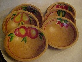 Vintage hand painted  fruits  small salad bowl set of 6