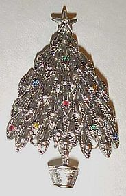 LIA Lianna Antiqued silvertone Christmas tree pin