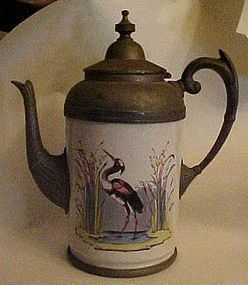 Antique French Enamelware and pewter coffee pot  /Crane