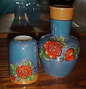 Antique hand painted lusterware tumble up relief roses