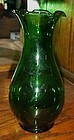 Vintage Anchor Hocking Forest green crimped vase 8""