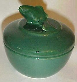 Vintage heavy green china covered bowl with fish on lid