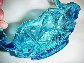 Indiana blue Monticello glass flower basket
