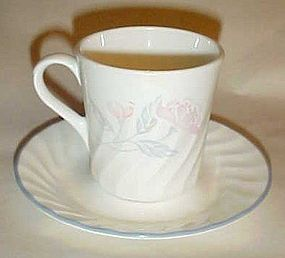 Corning  Corelle Pink trio pattern mug and saucer