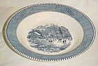 ROYAL Currier and Ives  blue and white Rimmed soup bowl