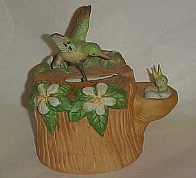 Porcelain Musical hummingbird figurine