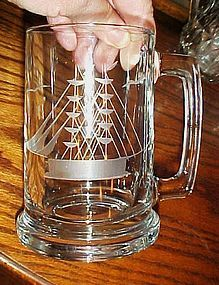 Javit cut crystal Clipper Ship tankard beer mug