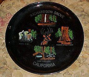 Vintage lacquer souvenir plate Richardson Grove Redwood