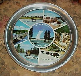 Vintage Yellowstone National park  aluminum scenic tray