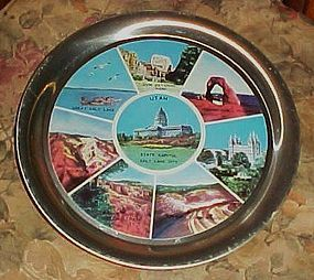 Vintage aluminum souvenir tray  for scenic Utah