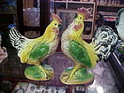 Vintage pair of ceramic chickens rooster and hen