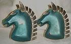 Vintage metal horse head ashtrays blue enamel chrome