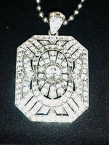 "Paula Abdul FYG Signature Pave  pendant  28"" necklace"