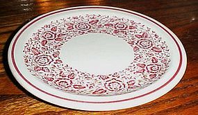 Iroquois china 6 5/8  plate red band and red floral