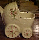 Vintage baby buggy carriage nursery planter hand pntd'
