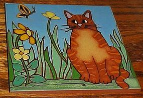 "Custom handmade Garden Kitty cat ceramic 6"" tile trivet"