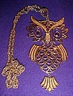 Large vintage articulated  owl pendant and chain
