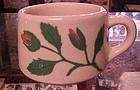 Old pink TEPCO china mug with rosebud  RARE 1940's