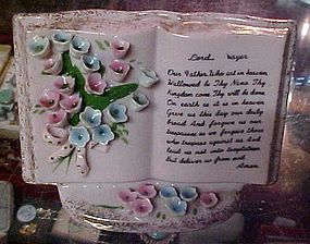 Vintage pink  Lord's Prayer Bible vase applied flowers