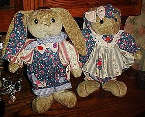 Pair of quality  plush dressed lop ear  bunny rabbits