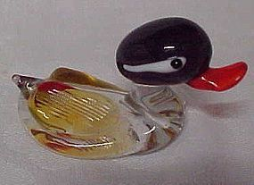 Blown glass miniature mallard duck