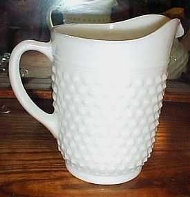 Anchor Hocking milk glass hobnail water pitcher