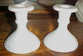 Westmoreland English hobnail  milk glass candle holders