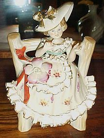 Vintage Wales lady on  bench figurine porcelain ruffles