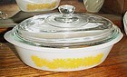 Pyrex?  USA Ovenware yellow floral 1qt  oval casserole