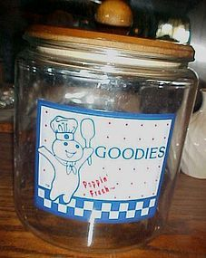 Pillsbury doughboy glass cookie jar goodies cannister