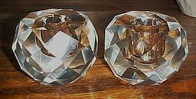 Beautiful cut lead crystal round candle holders