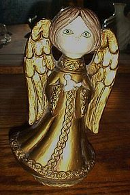 Vintage 60's 70's gold Musical angel plays Silent night
