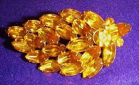 Vintage Amber rhinestone leaf pin