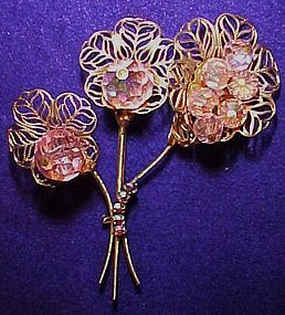 Vintage lily trio pin Pink aurora bead centers