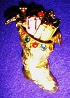 Vintage Christmas stocking holiday pin w rhinestones