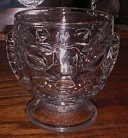 Clear glass polynesian Tiki mug happy and sad face