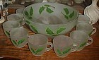 Hazel Atlas frosted punch bowl set hand painted Holly