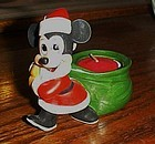 Bisque Mickey Mouse Santa votive candle holder