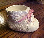 Vintage Lefton pink and white baby bootie planter