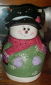 Adorable snowman cookie jar with bird on hat