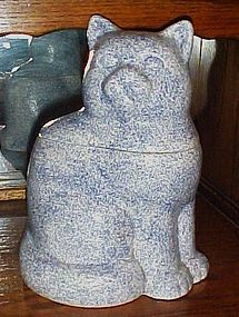 Blue granite speckle cat  ceramic cookie jar
